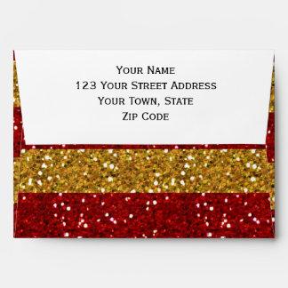 Oro y rayas rojas del brillo impresos sobre