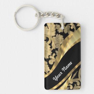 Oro y remolino negro del damasco llavero rectangular acrílico a doble cara