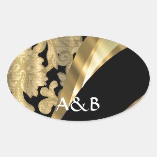 Oro y remolino negro del damasco pegatina óval