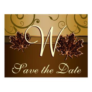 Oro y reserva marrón del boda de la caída las postal
