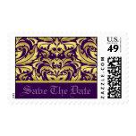 Oro y reserva púrpura del damasco el franqueo de l