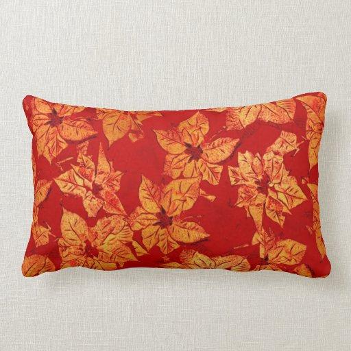 Oro y rojo - almohada lumbar del Poinsettia