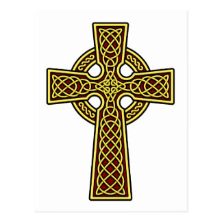 Oro y rojo de la cruz céltica postales