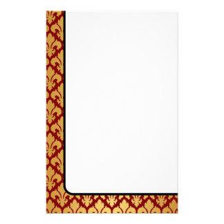 Oro y rojo de las flores de lis  papeleria de diseño