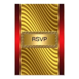 Oro y rojo del rsvp de Mitzvah de la barra Invitación 8,9 X 12,7 Cm