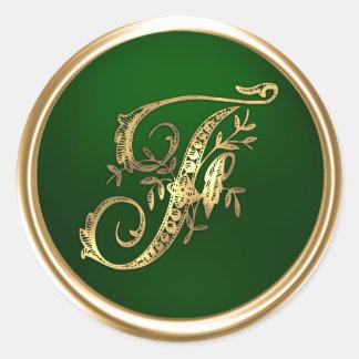 Oro y sello del sobre del monograma F de la Pegatina Redonda