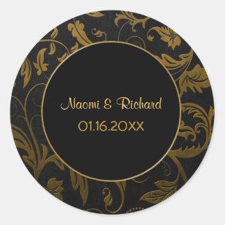 Oro y sello negro del boda del damasco - etiqueta redonda