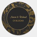 Oro y sello negro del boda del damasco - personali etiqueta