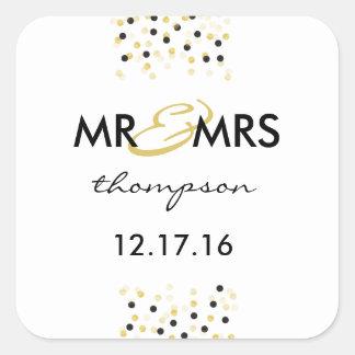 Oro y Sr. y señora negros Sticker del confeti Pegatina Cuadrada