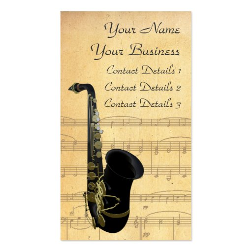 Oro y tarjeta de visita negra de partitura del sax