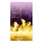 Oro y tarjeta de visita púrpura del damasco