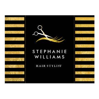 Oro y tarjeta negra de los comp del estilista postal