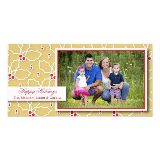 Oro y tarjeta roja de la foto del día de fiesta de tarjeta fotográfica personalizada