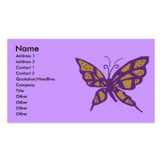 Oro y tarjetas de visita púrpuras de la mariposa