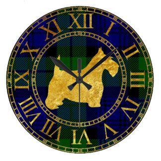 Oro y tela escocesa de Terrier del escocés Reloj Redondo Grande