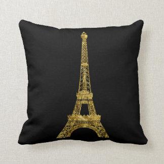 Oro y torre Eiffel negra Cojín Decorativo