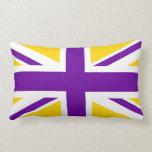 Oro y Union Jack púrpura Almohada