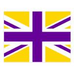 Oro y Union Jack púrpura Postales