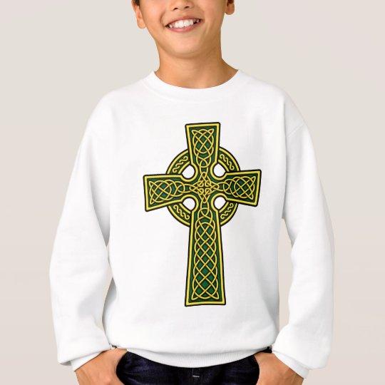 Oro y verde de la cruz céltica sudadera