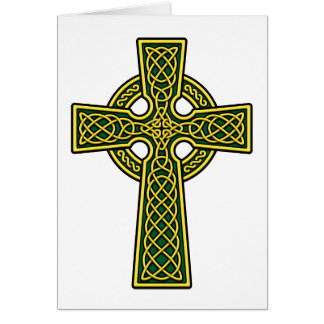 Oro y verde de la cruz céltica tarjeta de felicitación