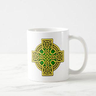Oro y verde de la manera del Celtic 4 Tazas De Café