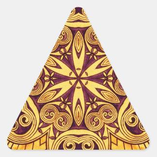Oro y vitral festivo color de rosa oscuro calcomanías de triangulos personalizadas