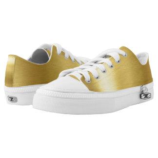 Oro y zapatos bajos blancos de los tops zapatillas