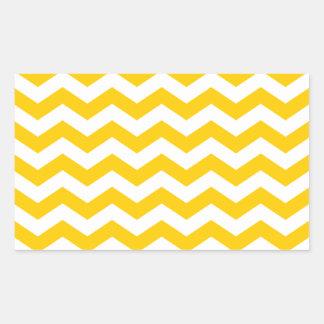 Oro y zigzag blanco pegatina rectangular
