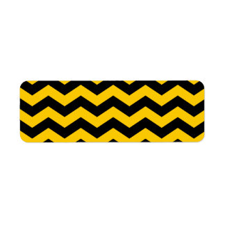 Oro y zigzag negro etiqueta de remite