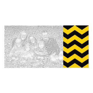 Oro y zigzag negro tarjeta fotografica