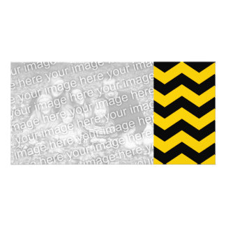 Oro y zigzag negro tarjeta fotográfica personalizada