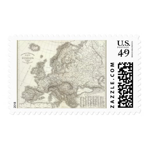 Orograph Europa - Physical Map of Europe Postage Stamp