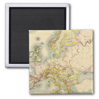 Orographic map of Europe 2 Inch Square Magnet