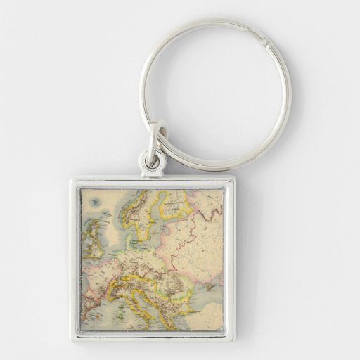 Orographic map of Europe Keychains