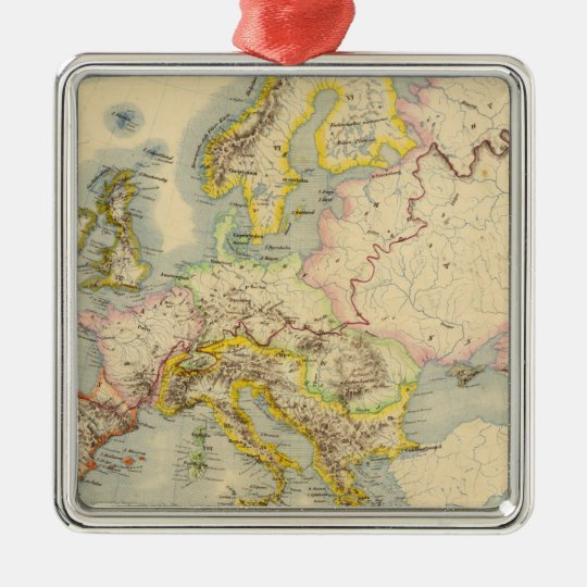 Orographic map of Europe Metal Ornament