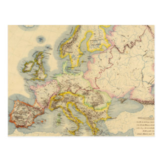 Orographic map of Europe Postcard