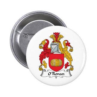 O'Ronan Family Crest Pinback Buttons