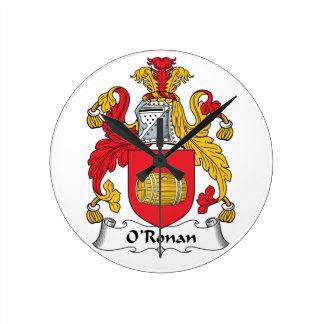 O'Ronan Family Crest Round Wallclock