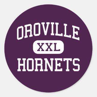 Oroville - avispones - alto - Oroville Washington Pegatina Redonda