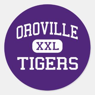 Oroville - tigres - alto - Oroville California Pegatina Redonda