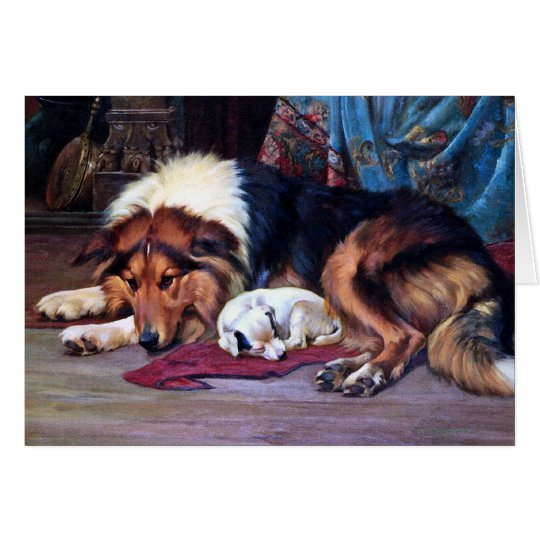 Orphan Dog with Collie Vintage Art Card