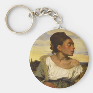 Orphan Girl at the Cemetery by Eugene Delacroix Basic Round Button Keychain