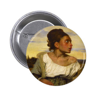 Orphan Girl at the Cemetery by Eugene Delacroix Button