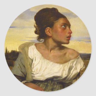 Orphan Girl at the Cemetery by Eugene Delacroix Classic Round Sticker