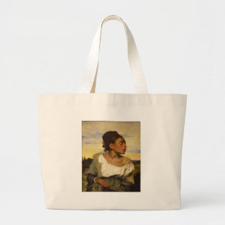 Orphan Girl at the Cemetery by Eugene Delacroix Large Tote Bag