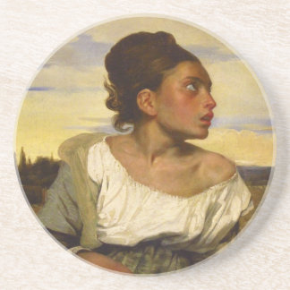 Orphan Girl at the Cemetery by Eugene Delacroix Sandstone Coaster
