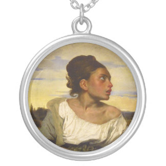 Orphan Girl at the Cemetery by Eugene Delacroix Silver Plated Necklace