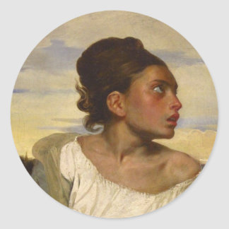 Orphan Girl at the Cemetery Classic Round Sticker