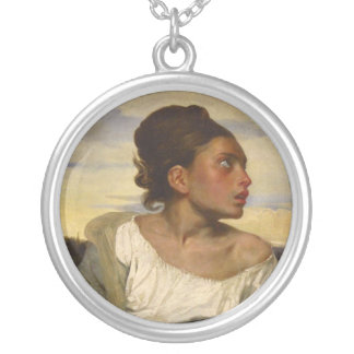 Orphan Girl at the Cemetery Silver Plated Necklace