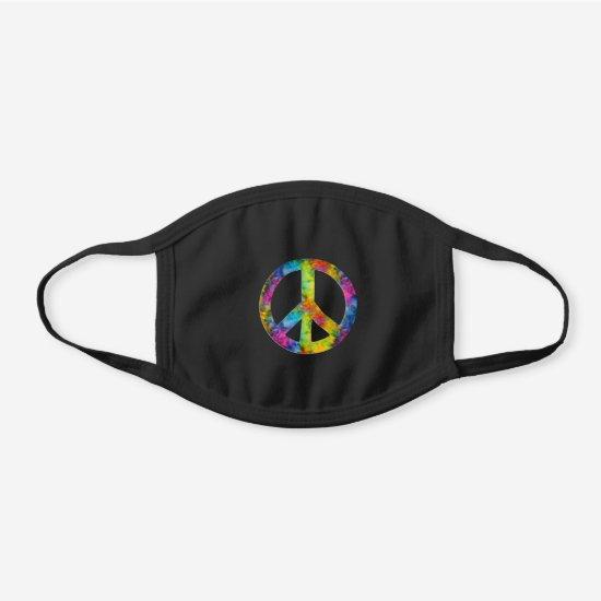 [Orphans] Tie-Dye Peace Sign Symbol Black Cotton Face Mask